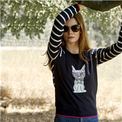 Leo & Ugo Embellished Dog Motif Round Neck Jumper