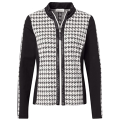 Just White Houndstooth Print Zip Up Jacket