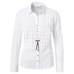Just White Cotton Mix Embroidered Blouse