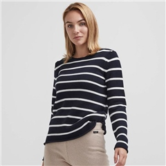 Holebrook 'Astrid' 100% Cotton Crewneck Striped Jumper - Navy