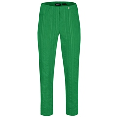 Robell 'Bella' 68cm Seersucker Cropped Trousers - Green
