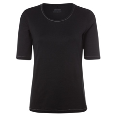 Olsen 100% Cotton Embellished Short Sleeve T-Shirt - Black
