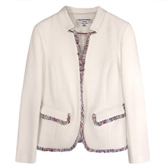 Helene Berman 100% Cotton 'Notch' Jacket - White