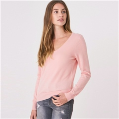 Repeat 100% Organic Cashmere V-Neck Jumper - Light Pink