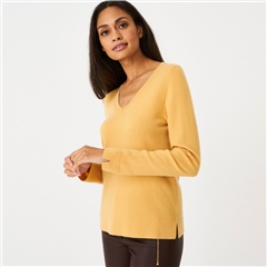 Repeat 100% Organic Cashmere V-Neck Jumper - Saffron