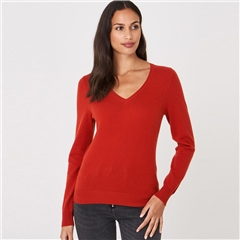 Repeat 100% Organic Cashmere V-Neck Jumper - Paprika