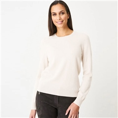 Repeat 100% Organic Cashmere Round Neck Jumper - Cream