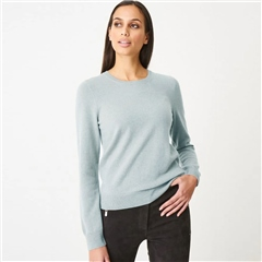 Repeat 100% Organic Cashmere Round Neck Jumper - Jade