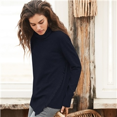 Repeat High Neck Asymmetric Frayed Jumper