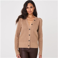 Repeat Ruched Shoulder 100% Wool Cardigan - Camel