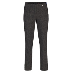 Robell 'Marie' 78cm Jacquard Trousers  - Charcoal