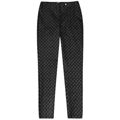 Robell 'Bella' 78cm Houndstooth Print Trousers - Black
