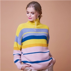 Van Kukil Cashmere 100% Cashmere High Neck Stripe Jumper