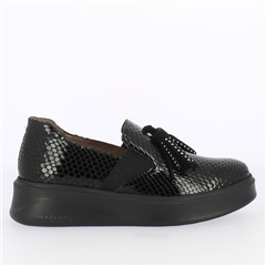 Wonders Patent Croc Flatform Loafers - Black