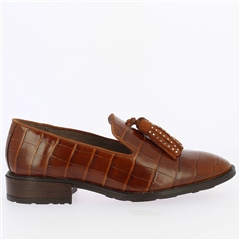 Wonders Croc Loafers With Tassel - Cognac