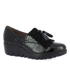 Wonders Patent Croc Wedged Loafers - Black