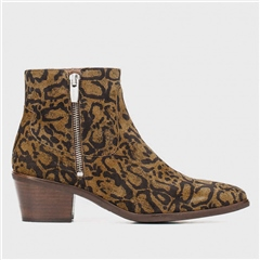 Wonders Animal Print Mid-Heel Ankle Boots