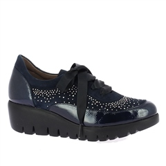 Wonders Ribbon Lace-Up Embellished Wedged Shoes - Night Blue