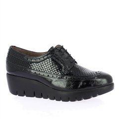 Wonders Patent Croc Wedged Brogues - Black