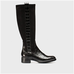 Wonders Patent Croc/Suede Long Boots - Black