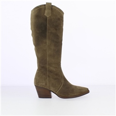 Wonders Long Suede Cowboy Boots - Taupe