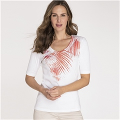 Olsen 100% Cotton Embellished Botanical Motif T-Shirt