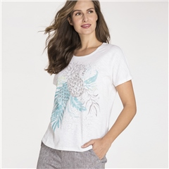 Olsen 100% Cotton Embellished Pineapple Print T-Shirt