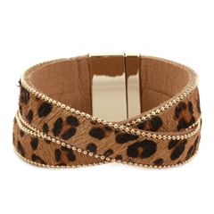 Hill & How Crossover Textured Leopard Print Bracelet - Tan