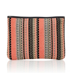 Hill & How Jacquard Beach Pouch - Coral