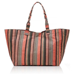Hill & How Jacquard Beach Tote Bag - Coral