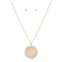 Hill & How Delicate Lace Filigree Round Necklace Set - Gold