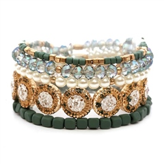 Hill & How Metal Multi Elastic Bracelet - Teal