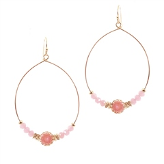 Hill & How Gemstone Hoop Earrings - Pink