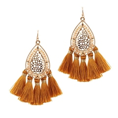 Hill & How Beaded Tassel Earrings - Mustard