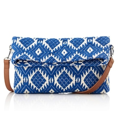 Hill & How Jacquard Aztec Crossbody/Clutch Bag - Blue