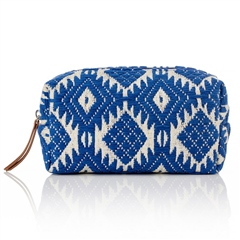 Hill & How Jacquard Aztec Make-Up Bag - Blue