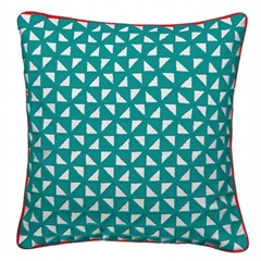Bombay Duck Kites Square Cushion With Piping - Teal