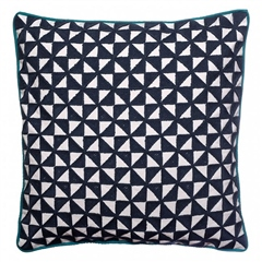 Bombay Duck Kites Square Cushion With Piping - Navy
