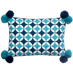 Bombay Duck Fez Circles Rectangle Cushion With Pompoms - Teal