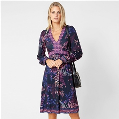 Hale Bob 'Cassandra' Floral Print Dress - Berry