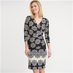 Joseph Ribkoff Abstract Print Crossover Dress