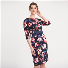 Joseph Ribkoff Floral Print Waist Detail Dress
