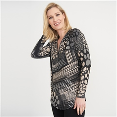 Joseph Ribkoff Multi Print Embellished Zip Top