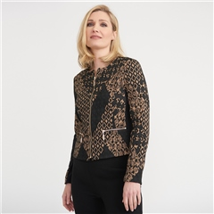 Joseph Ribkoff Tile Print Zip Up Jacket