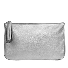 Alison Van Der Lande Textured Metallic Leather Clutch Bag - Navy