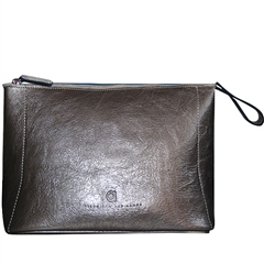 Alison Van Der Lande Large Metallic Leather Clutch Bag - Pewter