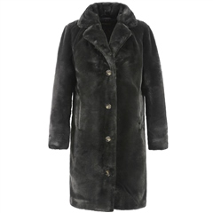 Oakwood 'Cyber' Teddy Fur Coat - Dark Grey