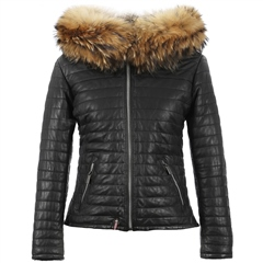 Oakwood 'Happy' Fur Hood Padded Leather Coat - Black