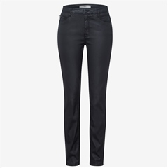 Brax 'Shakira' Leather Look Coated Trousers - Black