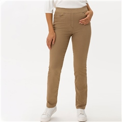 Brax 'Pamina' Pull-On Cotton Trousers - Camel